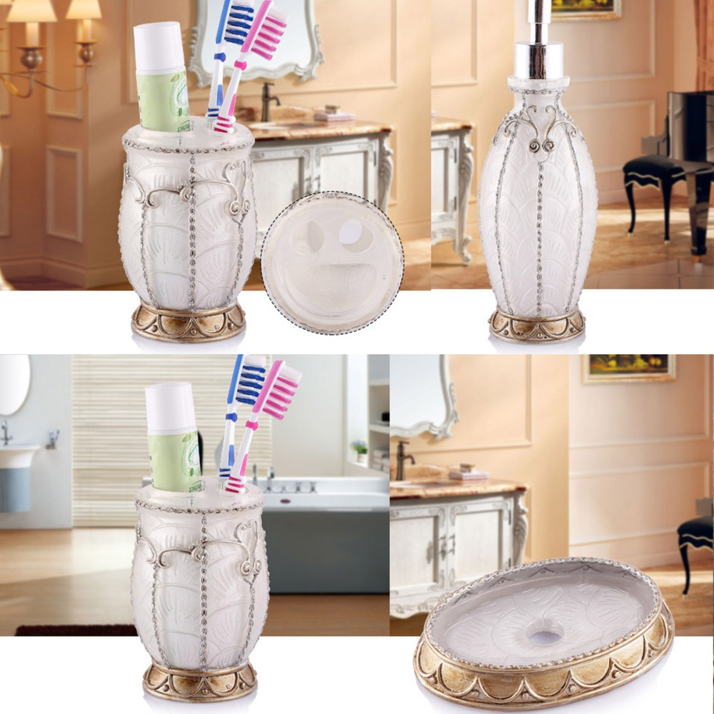 Hand Crafted Pearl White Set of 5 PC Resin Bath Vintage France ...