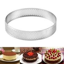 Molde para tarta de Mousse, herramienta de acero inoxidable antiadherente, redondo, perforado, transpirable, 6-10 Cm