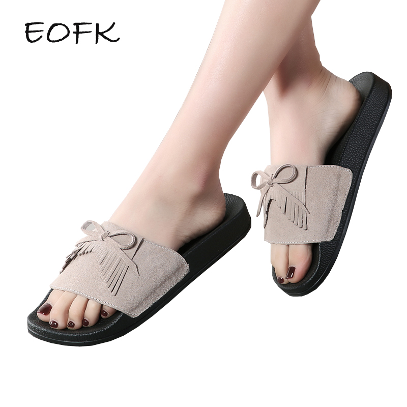 EOFK High Quality Summer Women Genuine Leather Slippers Suede Women flat Slides Tassel Butterfly Knot elegant womens shoes