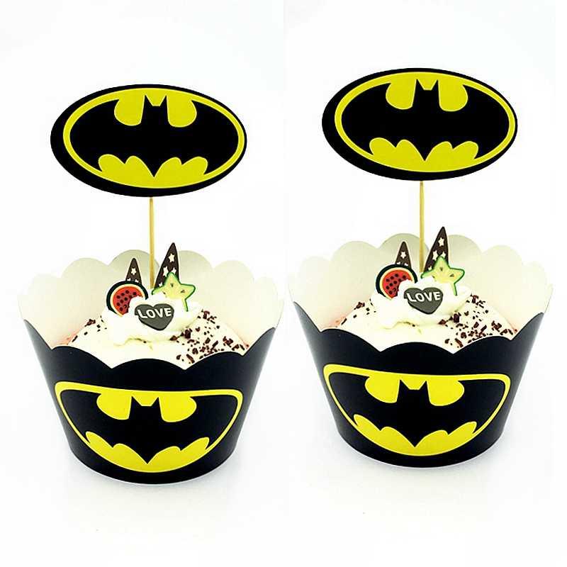 12 مجموعة خارقة المنتقمون مغلفة كب كيك كعكة القبعات العالية سبايدرمان باتمان تسمية حفلة عيد ميلاد الاطفال الصبي صالح لوازم الديكور