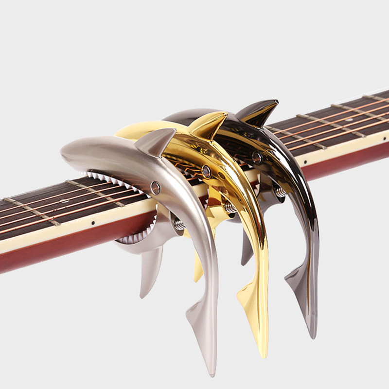 Tubarão Forma Guitarra elétrica Capo Quick Change Grampo Para Acústico Clássico de Liga de Zinco Guitarra Acessórios Para Instrumentos Musicais