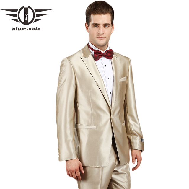 Plyesxale Wedding Suits For Men 2018 Champagne Tuxedo Mens Prom ...