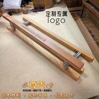 Logotipo personalizado alça de vidro fonte do hotel porta punho maçaneta da porta Chinesa esculpida em madeira de log