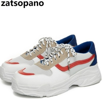 Women's Chunky Sneakers 2019 Fashion Women Platform Shoes Lace Up White Blue Female Trainers Dad Shoes Bambas Plataforma Mujer