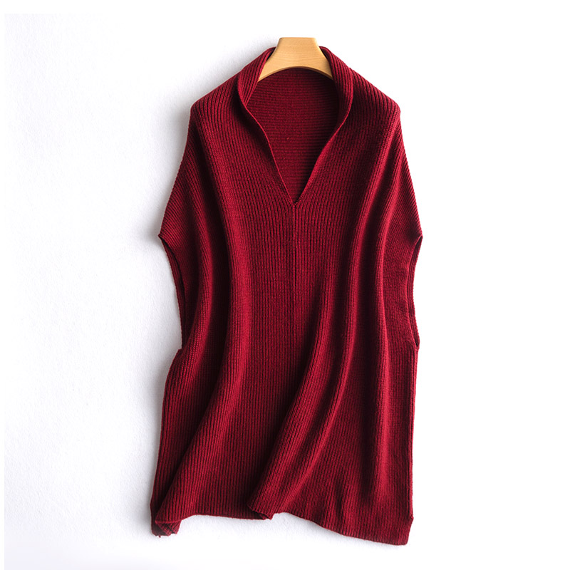 19 spring and autumn new women's long section V neck wool knit vest female loose thin bat cashmere sweater outside