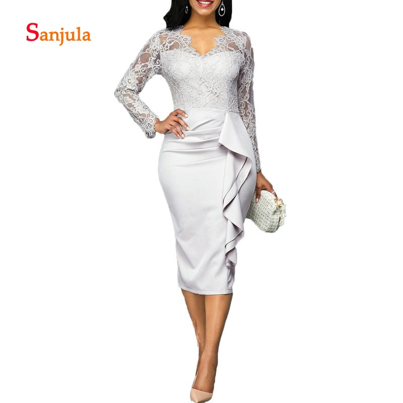 Knee Length Lace Mother Of The Bride Dress V-Neck Long Sleeve Fashion Grey Mother's Dress Women Formal Wear For Wedding D896