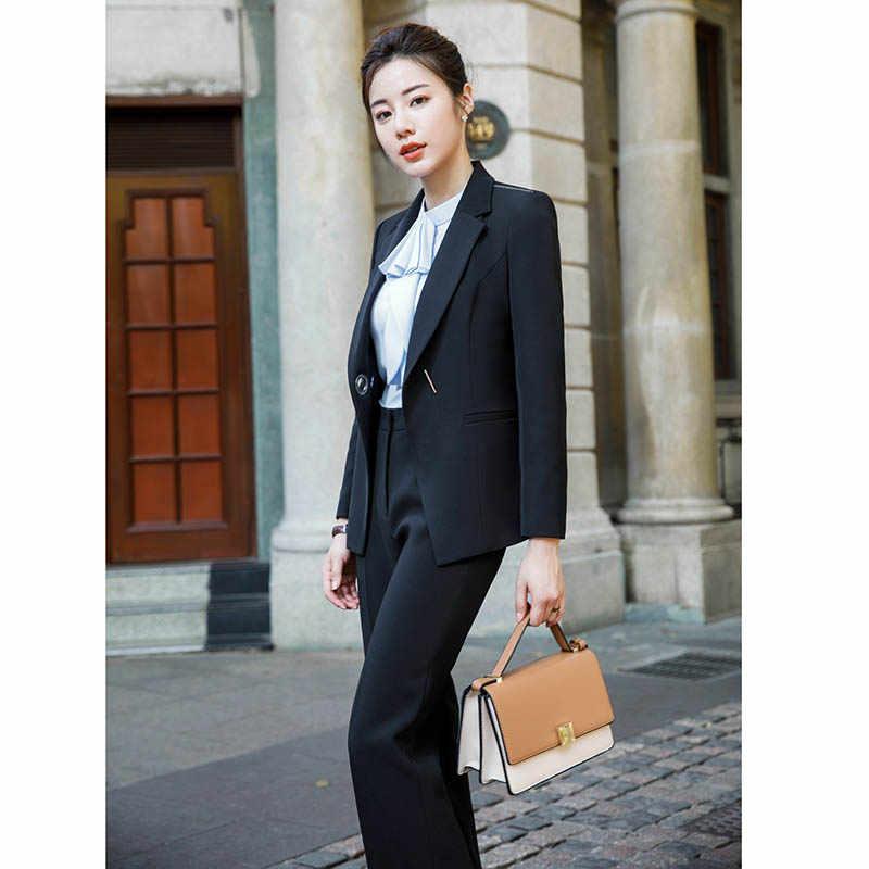 2018 ファッションのキャリア女性ツーピースセットビジネスオフィスの女性のスーツブレザー + エレガントなスカートワイドパンツブラウスフォーマル服