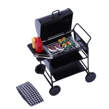 1:12 Doll House Diy Barbecue Car + Accessories Miniature Food Mini Decoration Toys Children