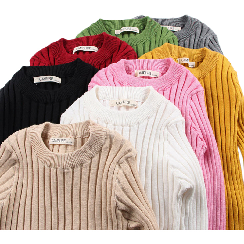 Baby Boys Girls Sweaters Solid Knitted Pullovers O-Neck 2018 New Autumn Winter Kids Clothing Multi Color 12M-6Y GW94 pink solid color off shoulder crop bodycon sweaters vests