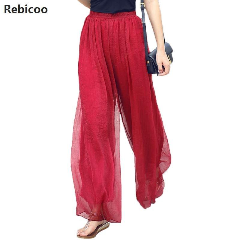 2019 Summer Slim Fluid   Wide     Leg     Pants   Female Trousers Fancy Plus Size High   Wide  -  Leg     Pants   Feet Straight Casual Boot Cut