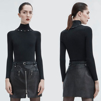 Rivet Decoration Detachable Turtleneck Sweater Trim To Show Thin Pure Color Wool Bottom Jumper Turtleneck Black Sweater women