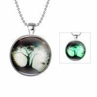 Hermosa joyería nuevo regalo de Halloween accesorios de plata árbol patrón collar pendiente fluorescente YGN158-A