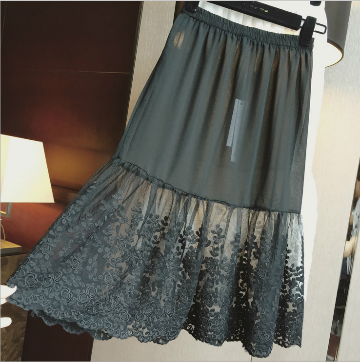 Image 2 - lace Half Slip Underskirt Women Slip Extend Petticoat mesh Transparent Skirt Lady Lace Slips Sexy lingerie femme Extender A Line-in Half Slips from Underwear & Sleepwears