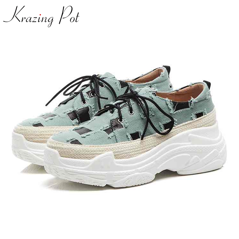 Krazing Pot genuine leather denim round toe sneaker classical causal plaid women thick bottom leisure cozy vulcanized shoes L11