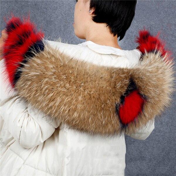 Горячая Распродажа, шарф из натурального меха, воротник 75*20 см, Женское зимнее пальто, меховые шарфы, роскошный мех енота, настоящие зимние теплые грелки для шеи, Shaw - Цвет: Natural plus flower