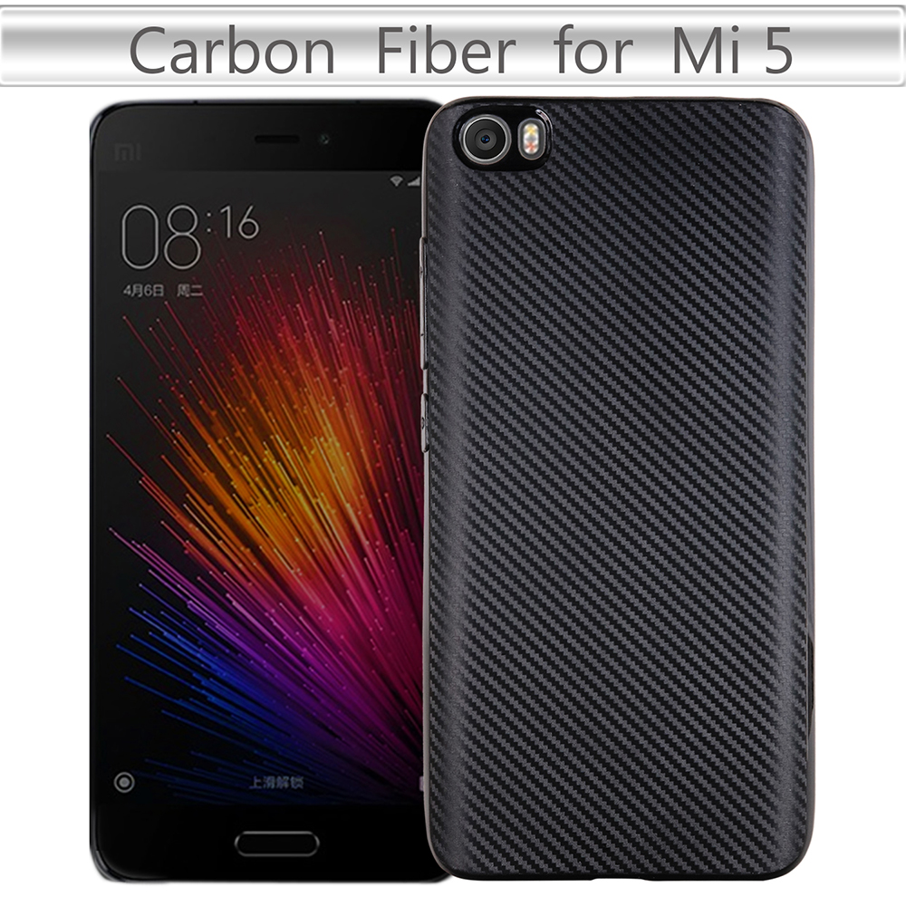 For Xiaomi Mi5 Case Soft TPU Carbon Fiber Dirt Resistant Back Cover Mobile Phone Accessories Mi5 M5 Bags Cases 5.15 Inch Fundas