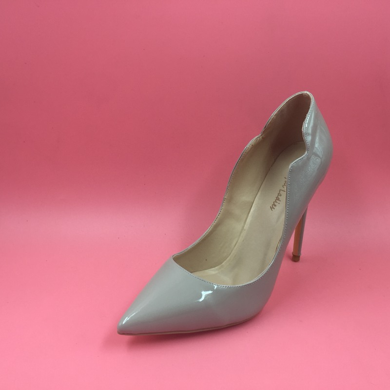 6fef7cf71fc Grey Patent Leather Women Pumps Pointed Toe Shoes Ladies High Heels  Designer Shoes Women Luxury 2016 Ladies Shoes Custom Color-in Women s Pumps  from Shoes ...