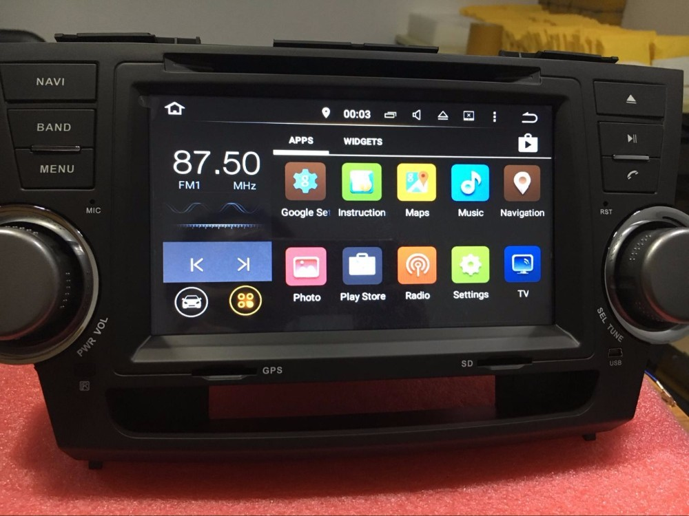 7 Android 7.1 Car GPS Navigation Car Autoradio stereo DVD Player Head unit For Toyota Highlander 2007-2013