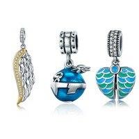 SHIQIER 925 Sterling Silver Blue Planet Emalia & Gold Feather Skrzydło Charm Bransoletka Naszyjnik Biżuteria