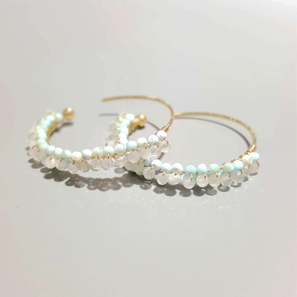 a83ccbdb2d799 US $66.67 5% OFF|Lii Ji Natural Tiny Larimar Moonstone 925 Sterling Silver  18K Gold Plated Hoop Earrings-in Earrings from Jewelry & Accessories on ...
