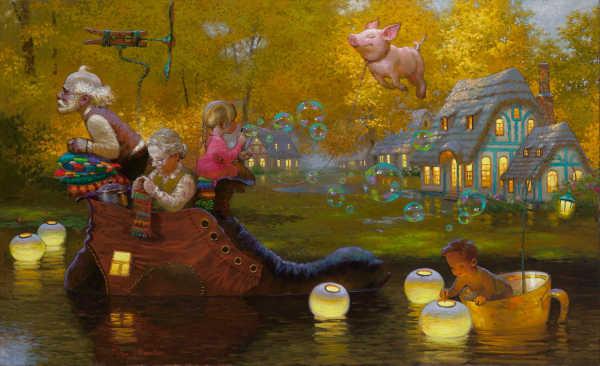 Christmas Paintings For Kids.Modern Art Victor Nizovtsev Canvas Prints Oil Painting Kids
