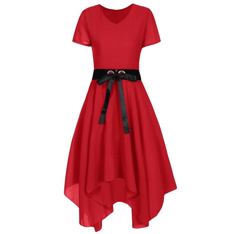 Chiffon Women's Dress 2019 Summer Dresses With Sashes Female Black Gothic Dress  Women Short Sleeve A Line Women's clothing Dresses  - AliExpress