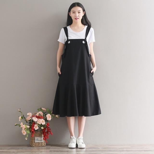 7fe04e955a13 Mori Girl Spring Autumn Women Sleeveless Dress Cotton Linen Spaghetti Strap  Elbise Casual Loose Elegant Black Dress With Ruffles