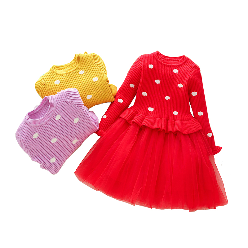 3- 10 yrs baby girls long sleeve dress cute knit sweater stitching tulle princess dresses 2018 autumn winter cotton kids costume toddlers girls dots deer pleated cotton dress long sleeve dresses