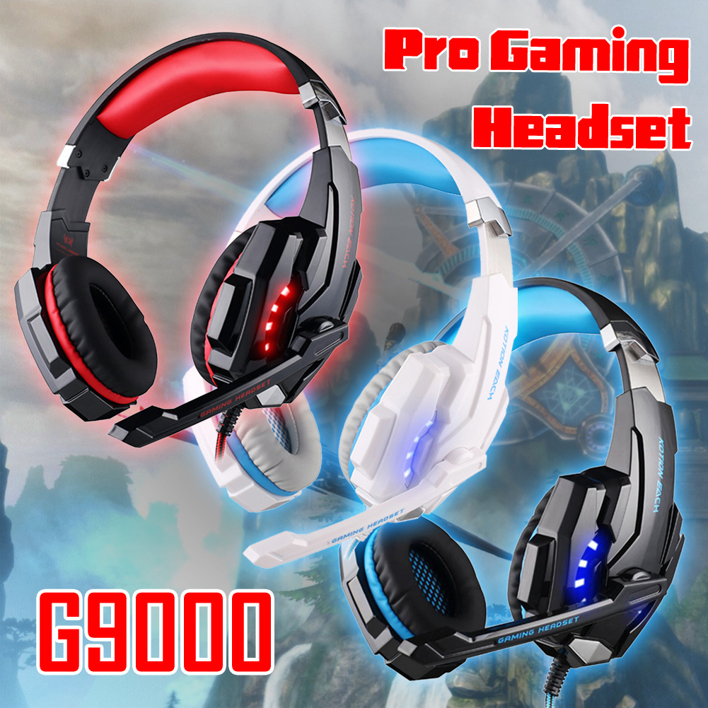 YCDC KOTION EACH G9000 3.5mm Pro Gaming Headset Headphone For PC Laptop 3D Surround Sound 3.5mm Headphone Headset+Mic LED Light