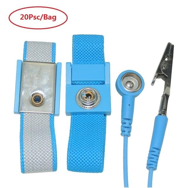 AIDACOM 20PCS Standard Wrist Band ESD Wristband Wrist Strap Bracelet With 1.8meter Ground Wire Earth Grounding Banana Plug