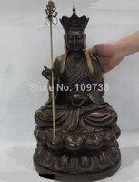 Ev ve Bahçe'ten Statü ve Heykelleri'de Bir 001645 20 Çin Budizm Bakır Bronz Datang Xuanzang Kshitigarbha Jizo Buda Heykeli