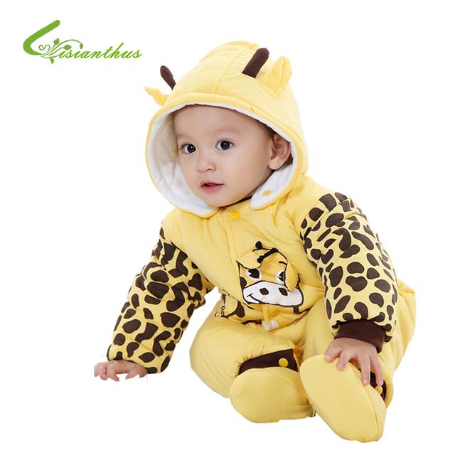 Algodão-acolchoado do bebê Romper Joaninha e Vacas Menino/Menina Macacão de Inverno Infantil Outono Animal Dos Desenhos Animados do Terno Do Corpo Presente frete Grátis