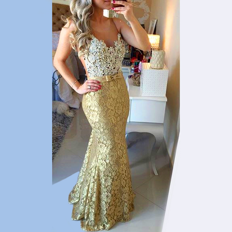 28022675b0 US $149.0 |Fashion Customize Sexy Abendkleider 2016 Gold Mermaid Dresses  For Prom Pretty Abiye Fitted Pearl Sparkly Lace Prom Dress Glitter-in Prom  ...
