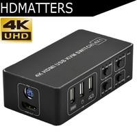 4 port HDMI KVM Switch 4K USB HDMI KVM Switcher 4 in 1 out Hot key 4KX2K/30HZ win10/8/mac os. PC laptop
