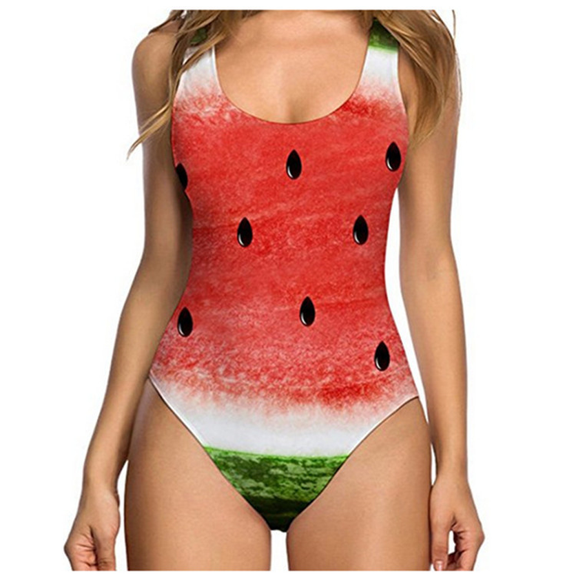 2019 Funny Fruit 3D Print One Piece Swimsuit Women Swimwear Sexy Push Up Bikinis Swimsuit Female Monokini Beachwear Bathing Suit in Body Suits from Sports Entertainment