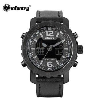 Мужские наручные часы с кожаным ремешком, черный светодиодный часы для мужчин