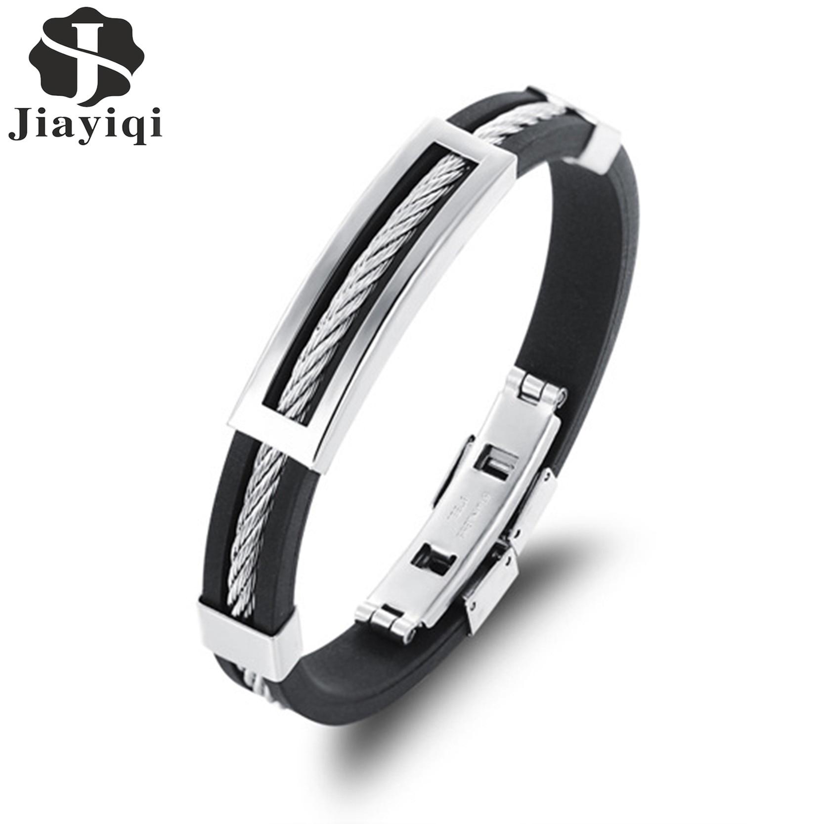 Jiayiqi New Mens Bracelets Stainless Steel Black Silicone Bracelets Charm Bracelet Male Bangle For Men Jewelry 2017 Silver Color