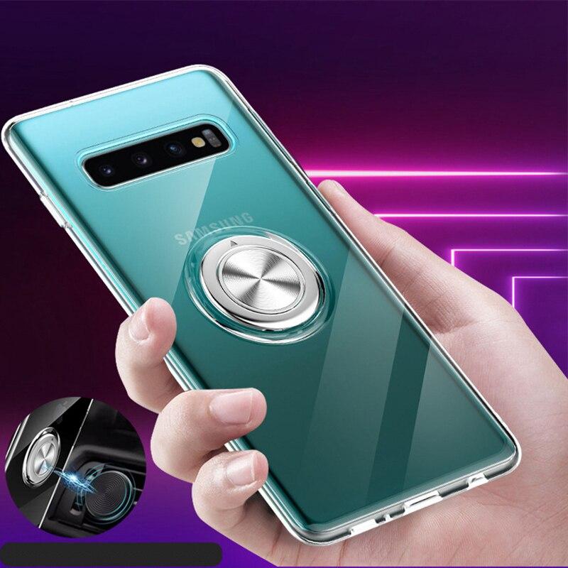 10 pièces coque de téléphone transparente avec support de bague en métal d'adsorption magnétique couverture de téléphone pour Samsung S10 PLUS 10E NOTE 9 A750