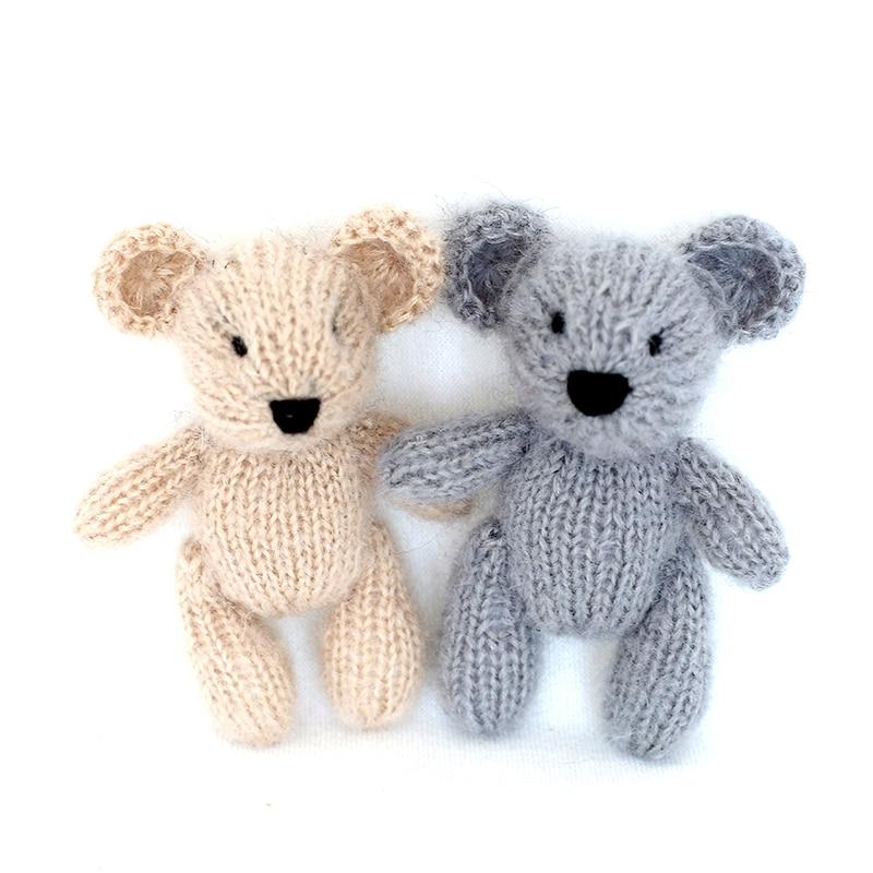 Knit Teddy Bear toy Photo Prop Crochet animal toys Handmade knit mohair doll Newborn photography props