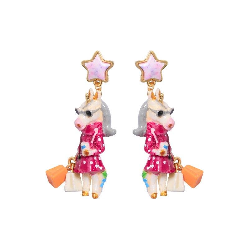 unicorn series enamel glaze earring