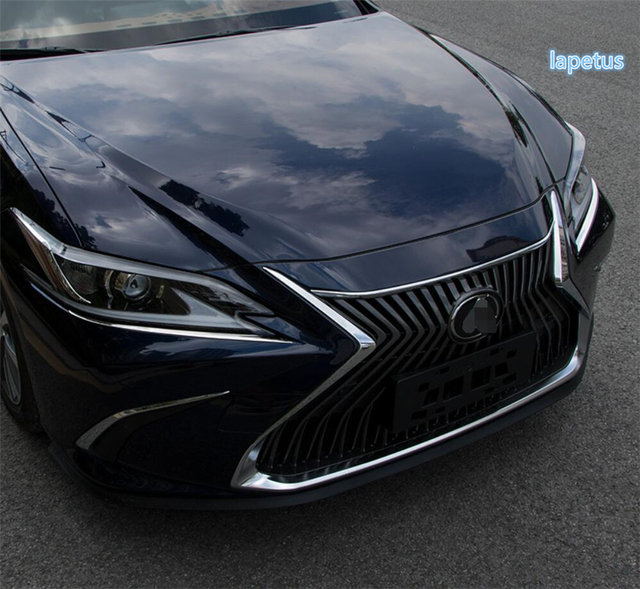Lapetus Front Head Lights Lamp Eyelid Eyebrow Decoration Frame Cover Trim 2 Piece Stainless Steel For Lexus ES 2018   2021