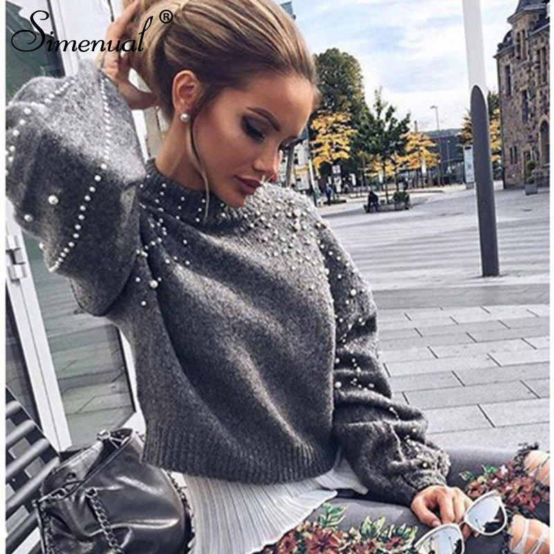 Simenual Autumn winter 18 women sweaters and pullovers bead lantern sleeve knitted sweater pullover female grey slim jumpers 11