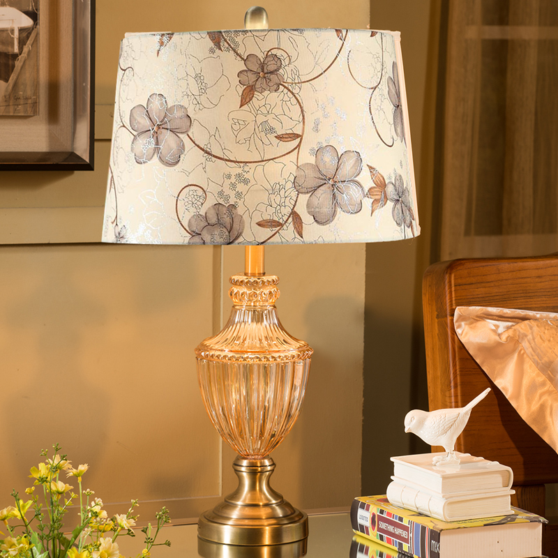 Modern luxury champagne K9 crystal table lamp Fabric Lampshade bedroom bedside table light luminaria Fixtures Home Lighting indoor brief solid oak wood textile desk lamp fabrics lampshade table light bedroom bedside warm lampara night light luminaria