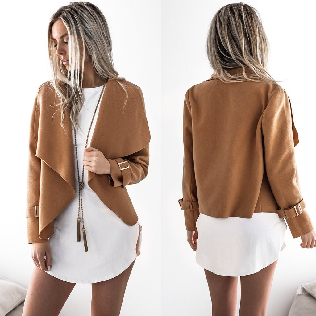 2019 Womens Autumn Casual   Jackets   Ladies Lapel Long Sleeve   Basic     Jacket   Coat Outwear Open Stitch Cardigan