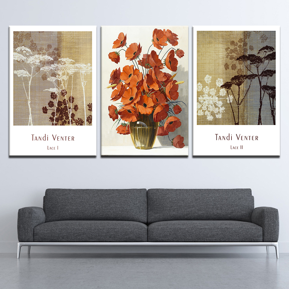 Discount 3 pieces nordic wall art pictures restaurant bedroom living room home decor watercolor plant flower canvas painting art poster only 5 49