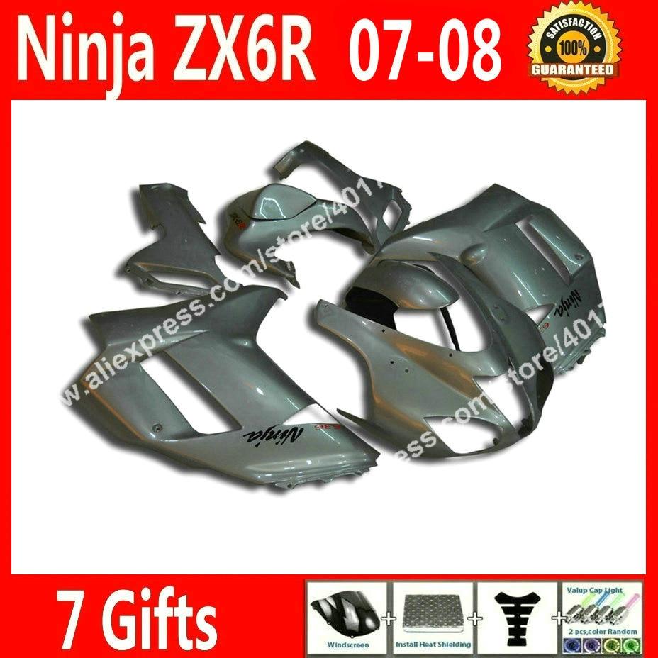 7 gift Fairings for motorcycle Kawasaki ZX6R 2007 2008 Ninja 636 fairing kits 07 08 popular silvery white  CF10