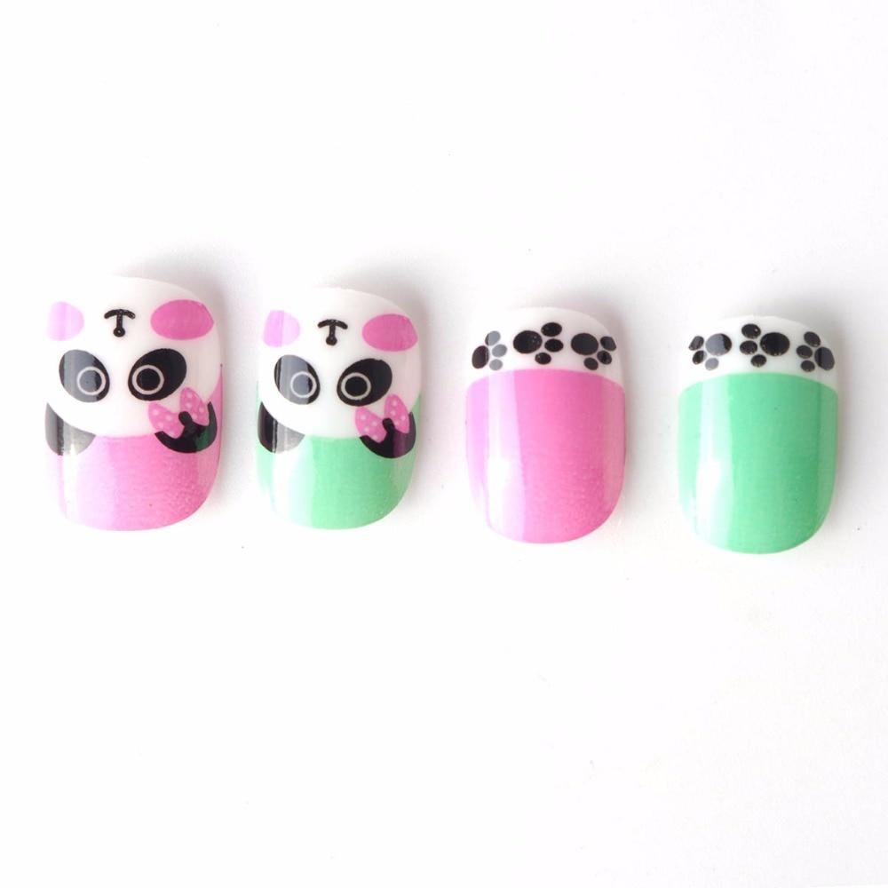 Hot Panda Children Fake Nails Press on 20 Pcs Green and Pink Pre ...