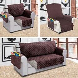 Capa de sofá reclinável cão de estimação crianças tapete protetor capa de sofá à prova dwaterproof água acolchoado reversível capas para sala estar