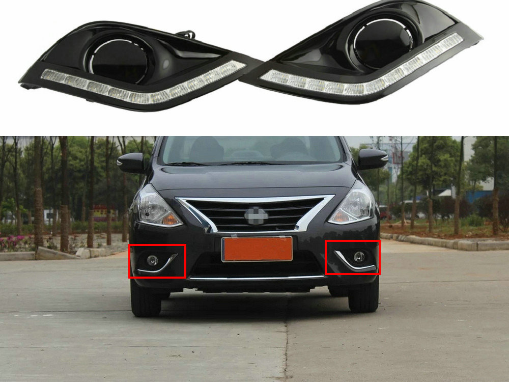 LED Driving DRL Daytime Running Lights Fog Lamp Cover Headlight 12V Daylight For Nissan Sunny Versa Almera Latio 2014 2015 2016 high quality lyc for jeep wrangler yj fog lights daylight running overhead fog lights for toyota nissan lights 30w 3000k 6000k
