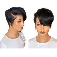 Human Hair Wigs Full Lace Wig Short Pixie Cut Brazilian Remy Straight Hair Wigs for Black Women Hot Beauty